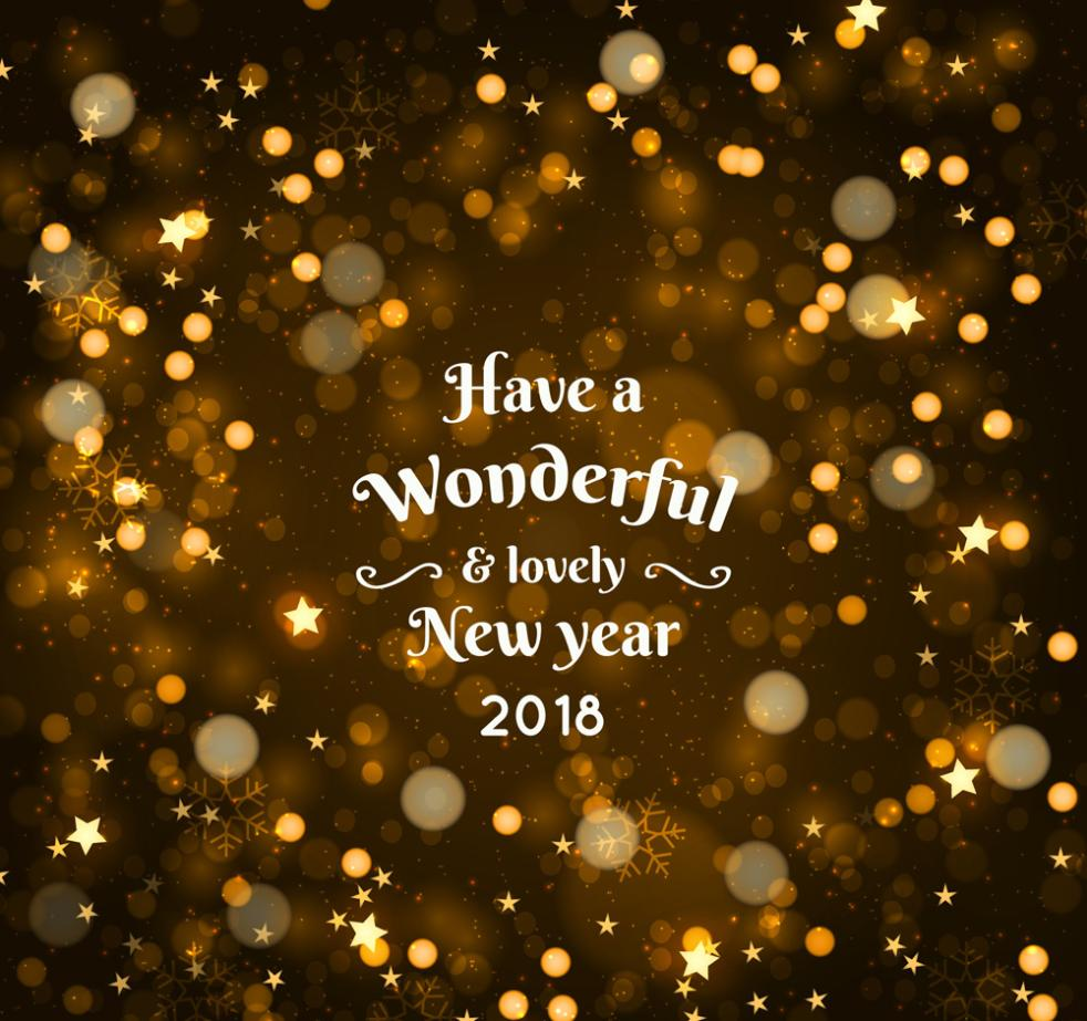 2018 Golden Halo Background Greeting Card Vector