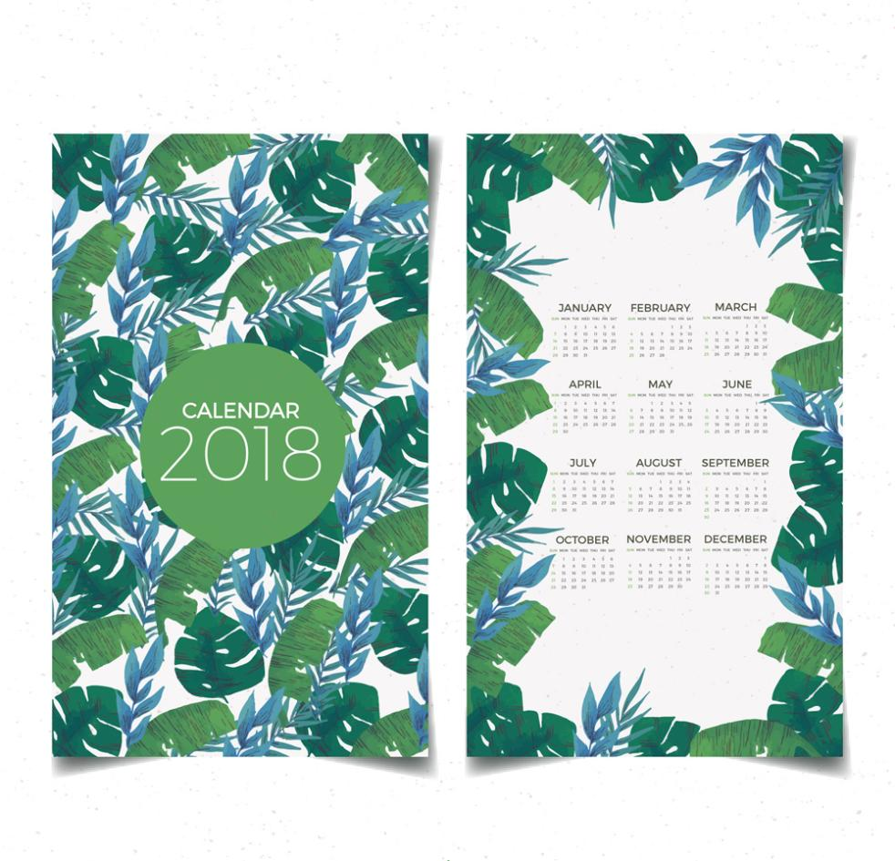 Green Leaves Calendar In 2018 Vector