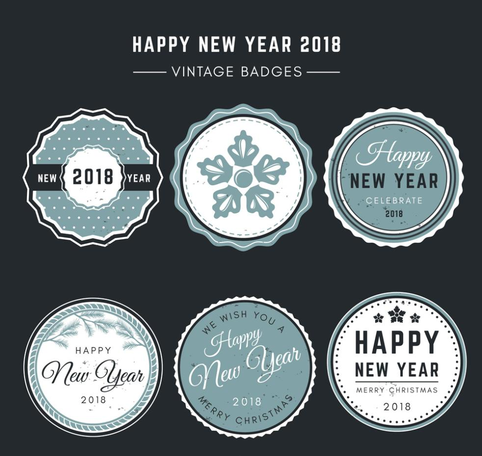 6 Retro Badge 2018 Happy New Year Vector