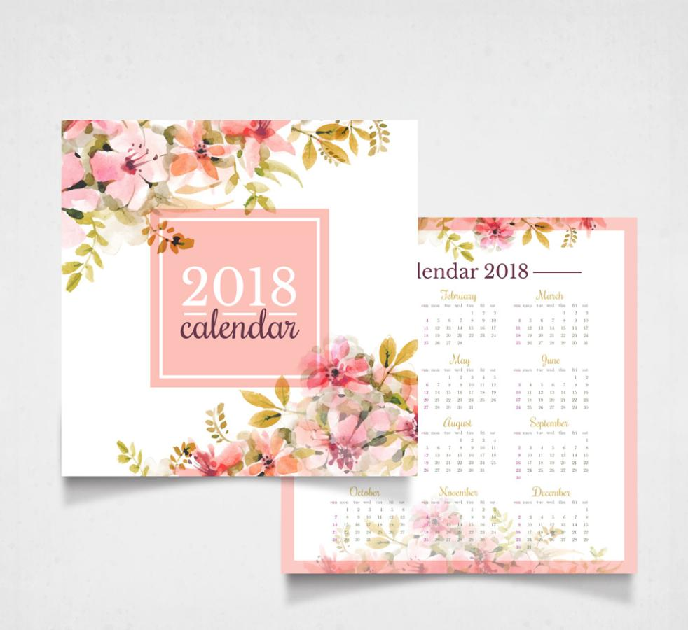 Positive And Negative Water Flower Calendar Coloured Drawing Or Pattern Vector