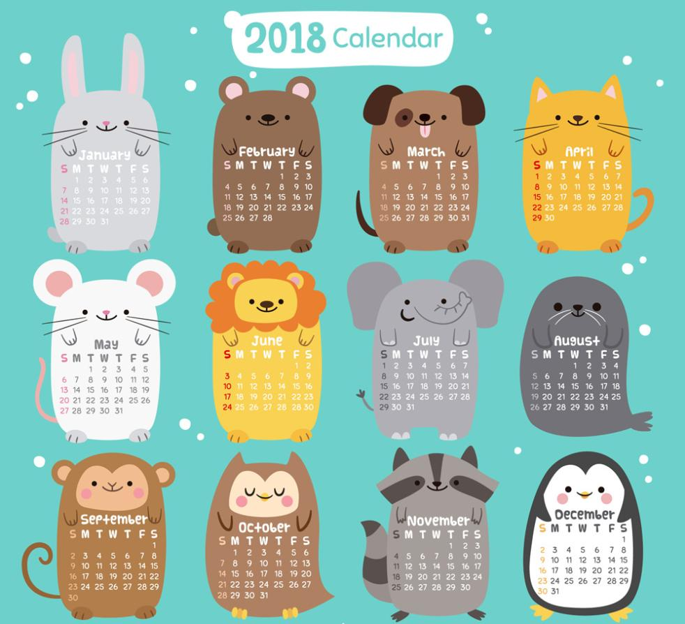 Cute Animals Calendar In 2018 Vector