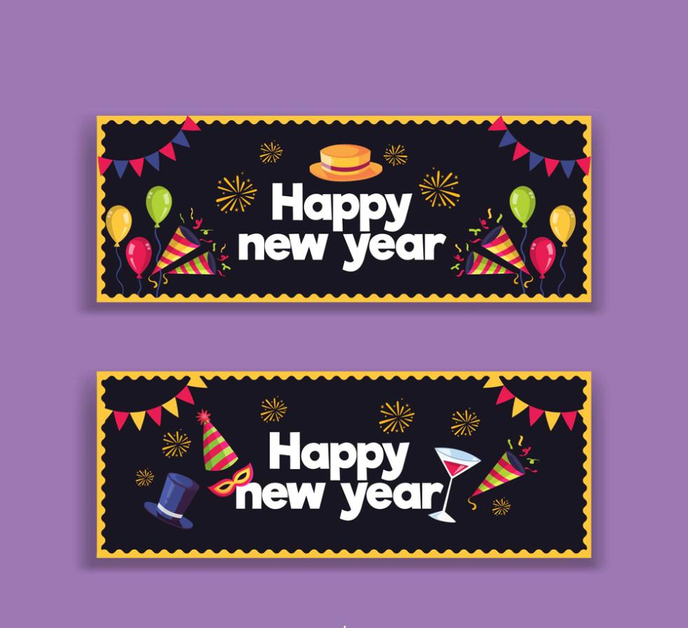 Happy New Year 2 Or More Creative Banner Vector