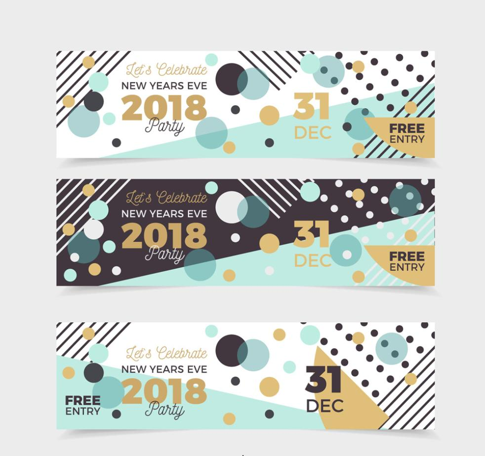 Three Creative 2018 New Year's Eve Party Banner Vector