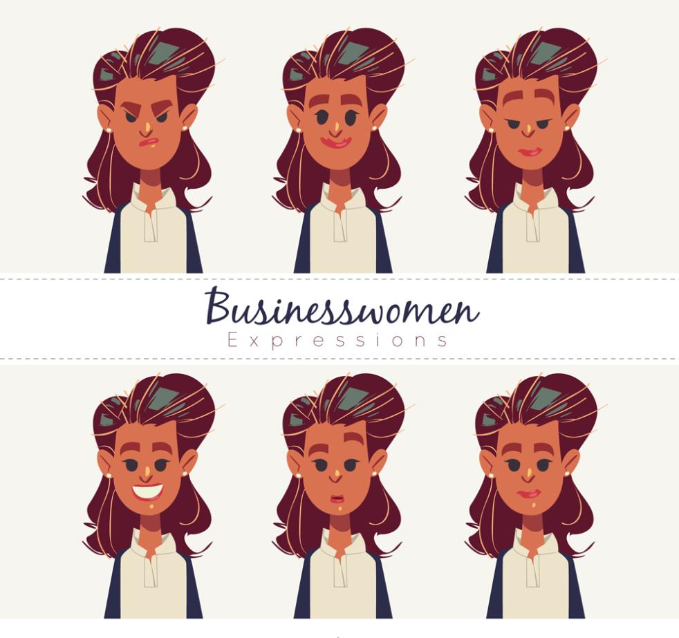 Six Business Girl Face Coloured Drawing Or Pattern Vector