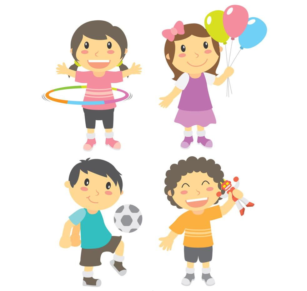 4 Cartoon Play Boys And Girls Vector