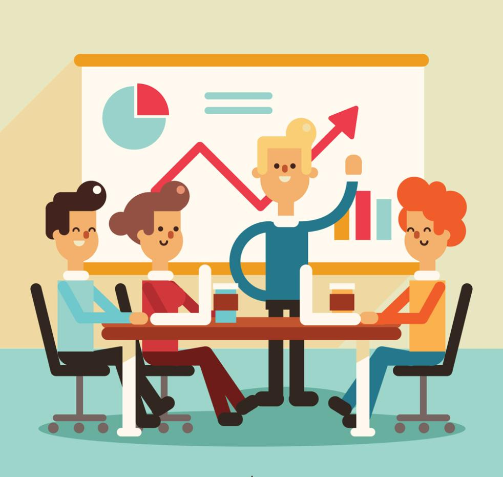 Creative Four Business Meetings Vector