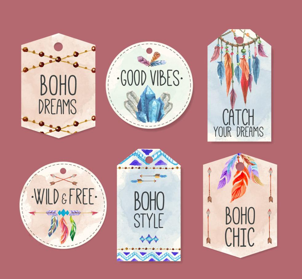 Six Coloured Drawing Or Pattern Bohemia Style Tags Vector