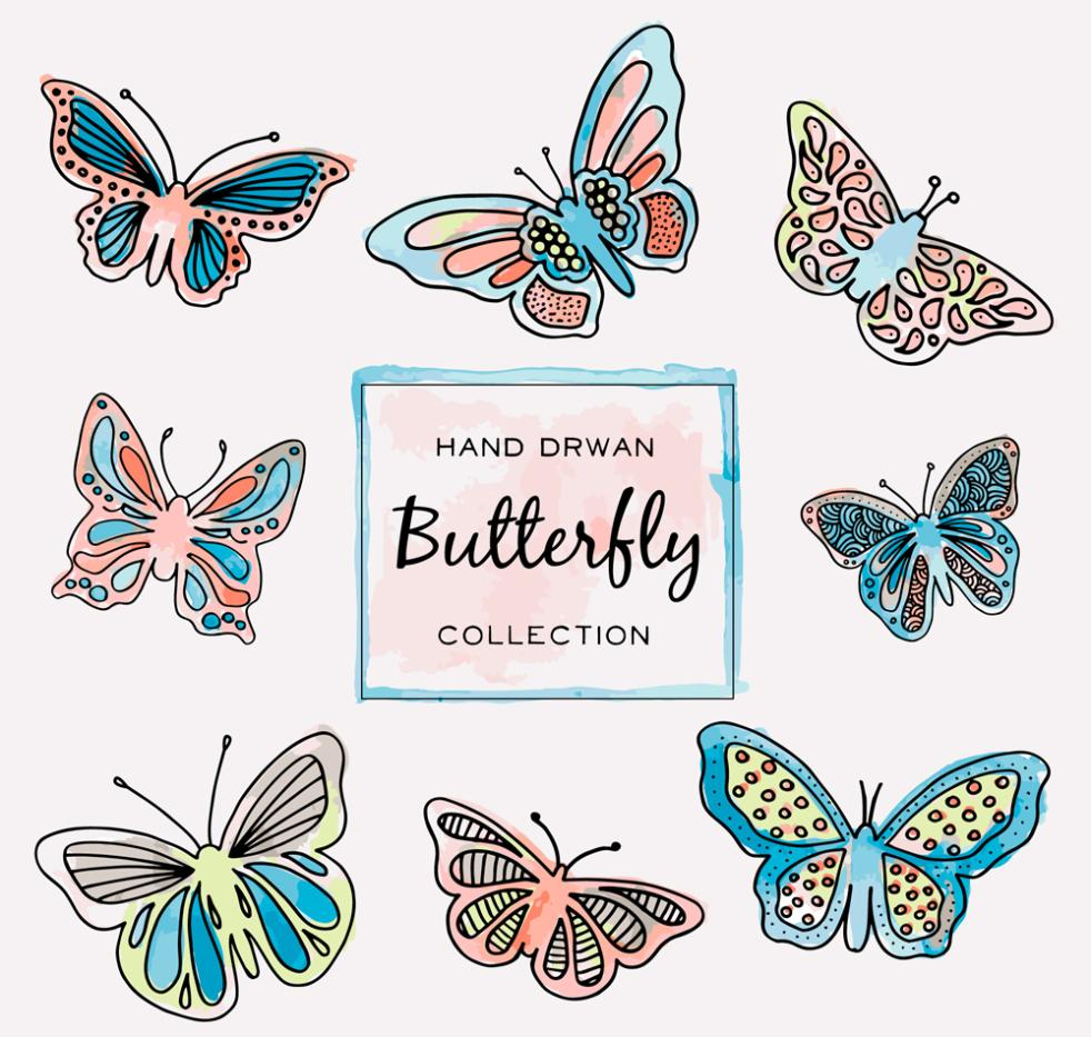 Eight Hand-painted Butterfly Vector