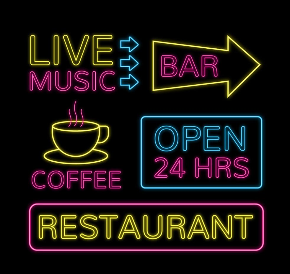 5 Color Neon Sign Vector