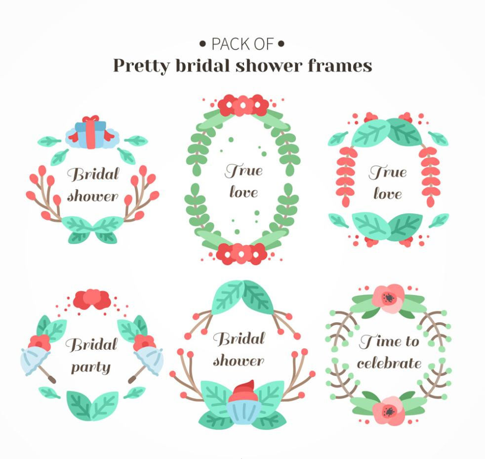 Six Color Flower Bridal Shower Framework Vector