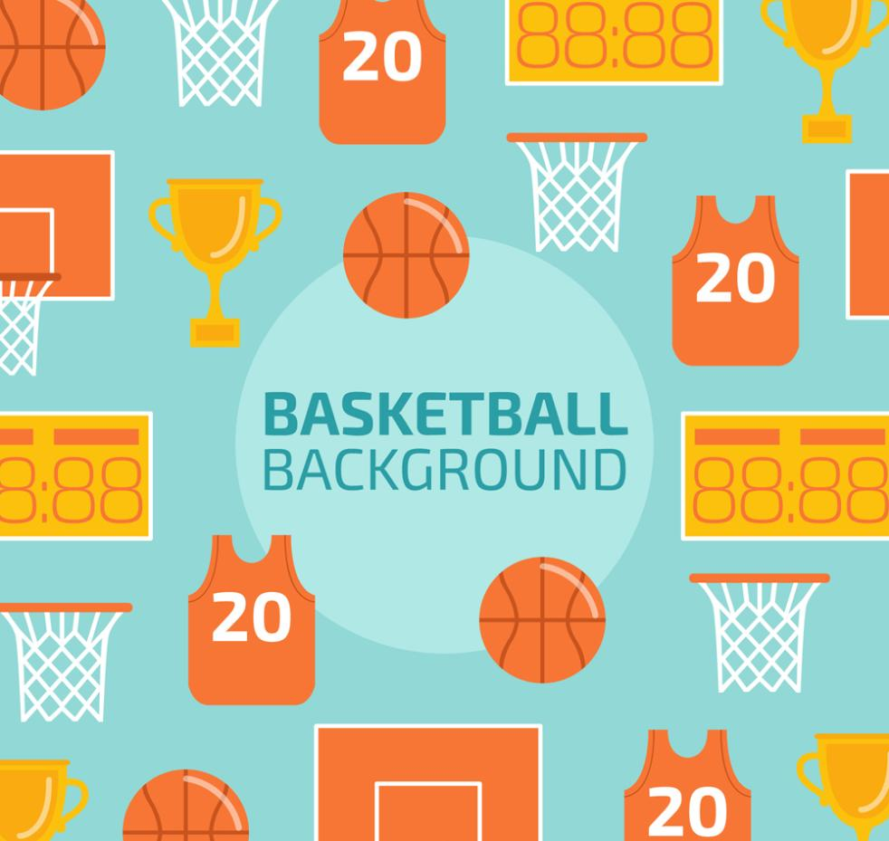 Flattening Basketball Seamless Background Element Vector
