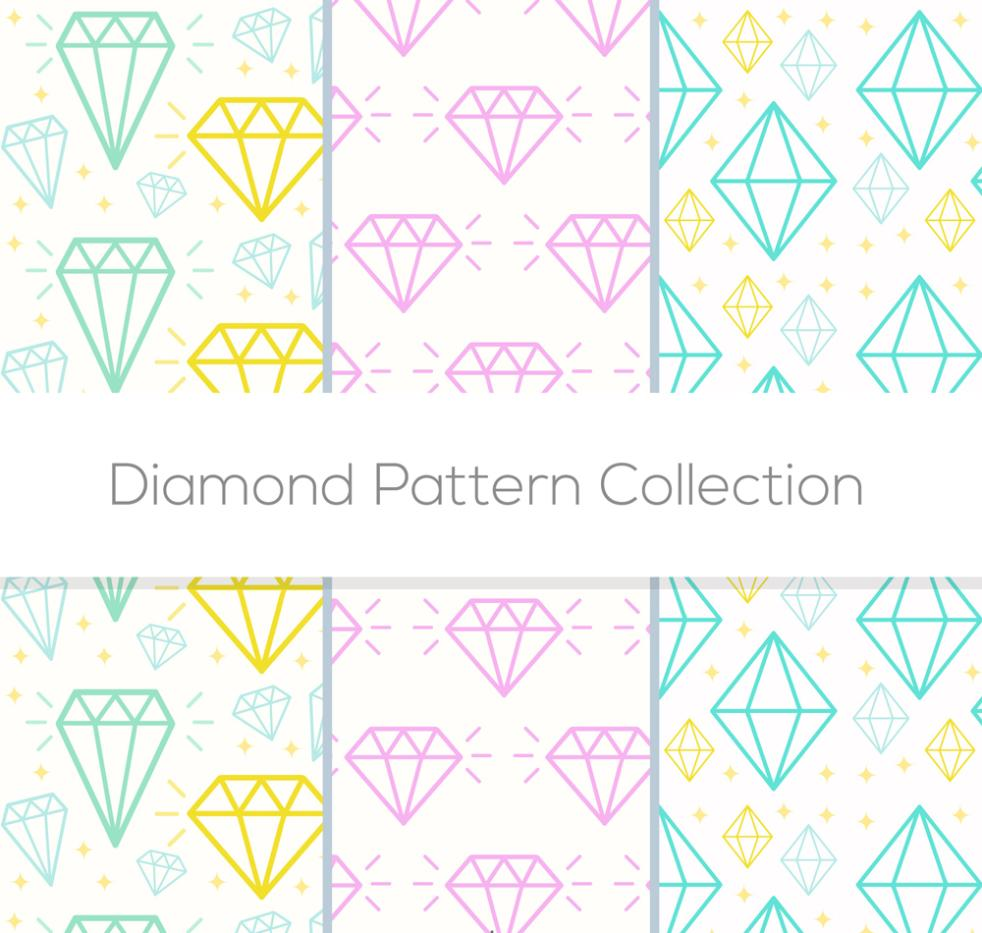 Three Seamless Background Color Diamonds Vector