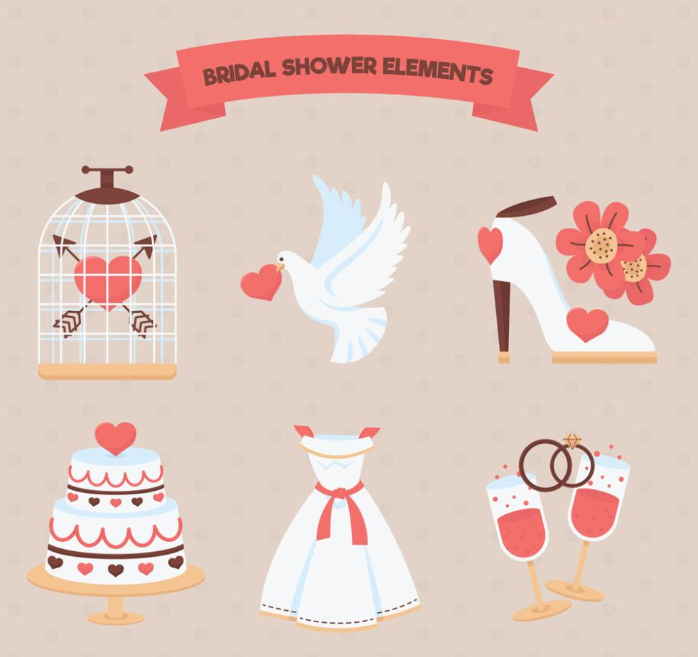 Six Creative Wedding Elements Vector