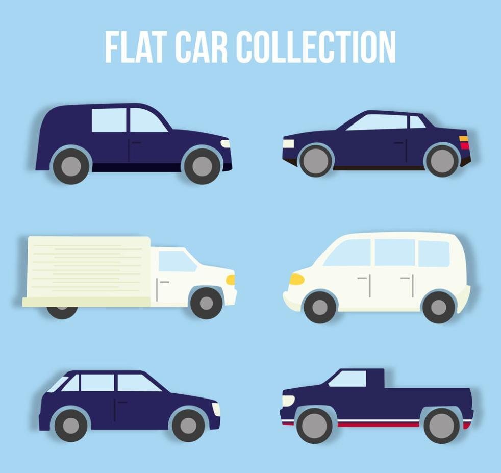 Six Flat Vehicle Design Vector