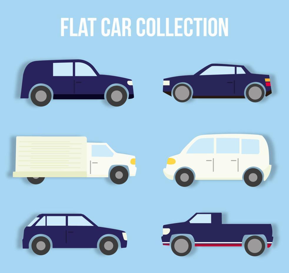 Six Flat Vehicle Design Vector