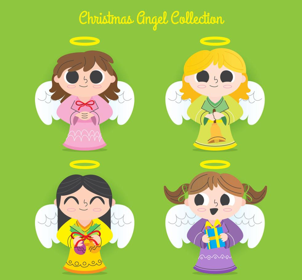 4 Hand-painted Christmas Angels Vector