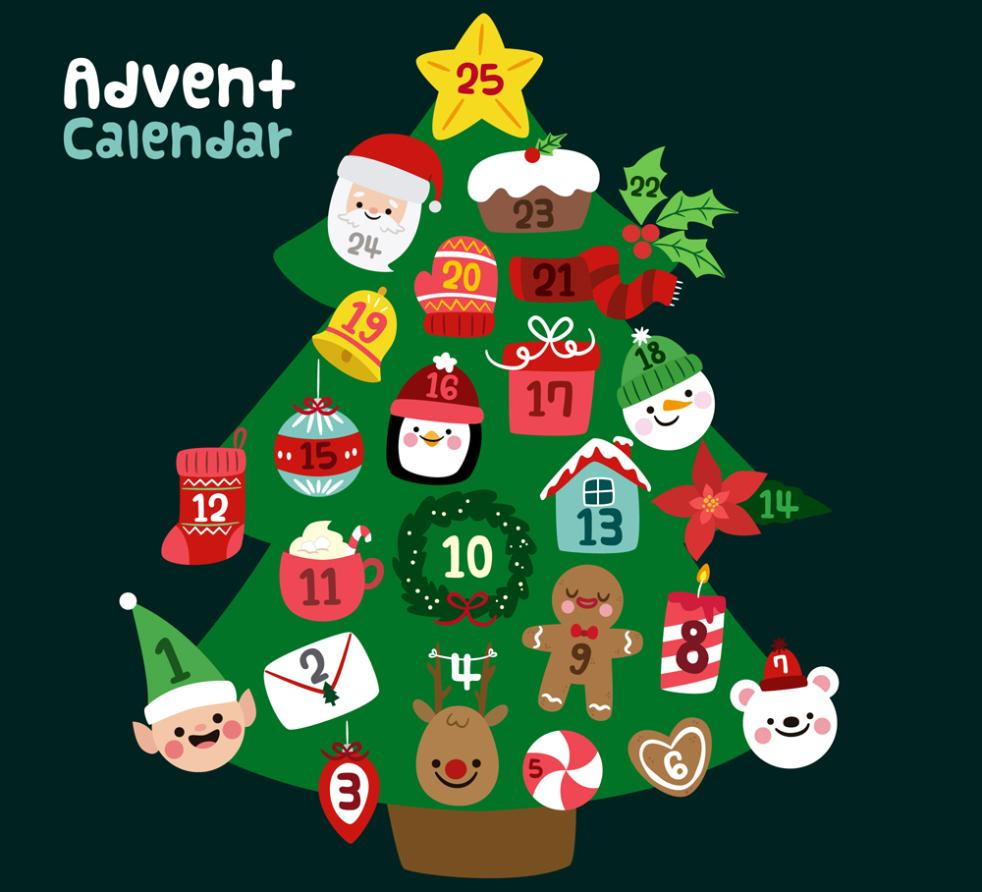 Lovely Christmas Tree On Christmas Calendar Vector