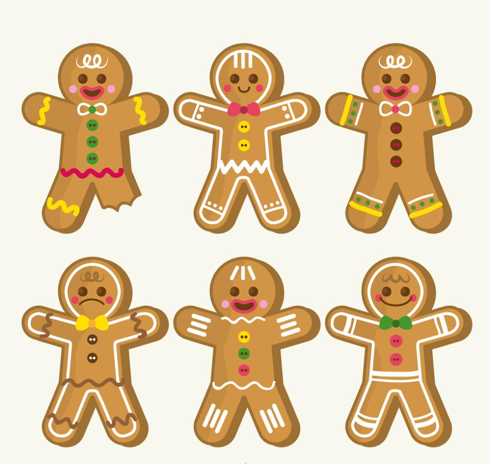 Six Color Christmas Gingerbread Man Vector