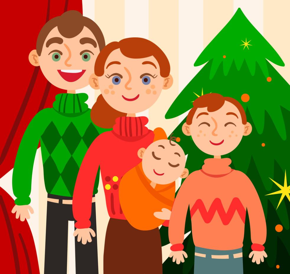 Creative Smiling Face Christmas Is A Family Of Four Vector
