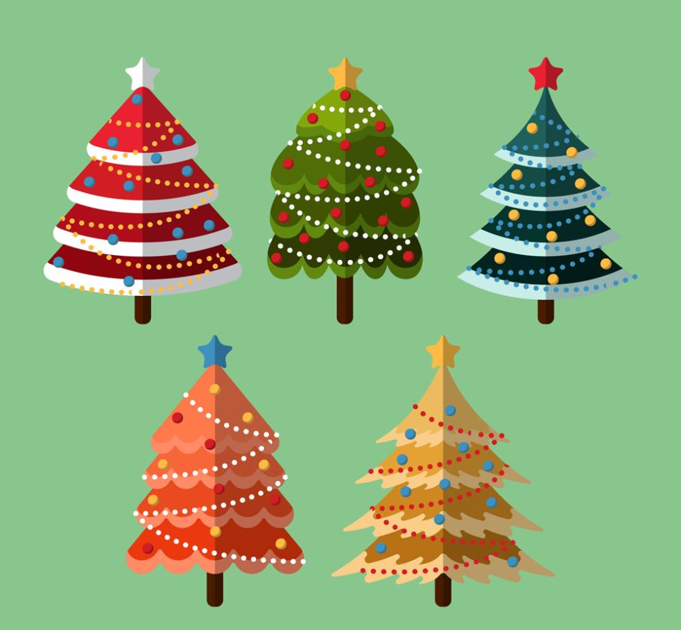 5 Color Flattening The Christmas Tree Vector