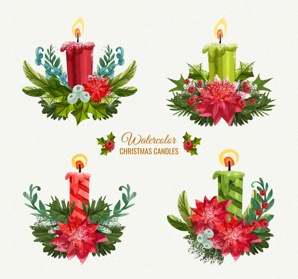 4 Christmas Candle Coloured Drawing Or Pattern Vector