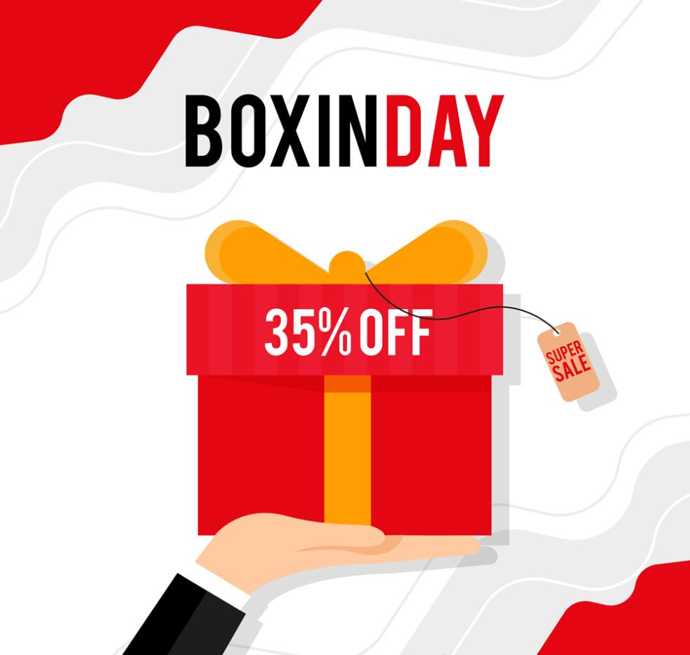 Creative Boxing Day Lift Arm Gift Box Vector