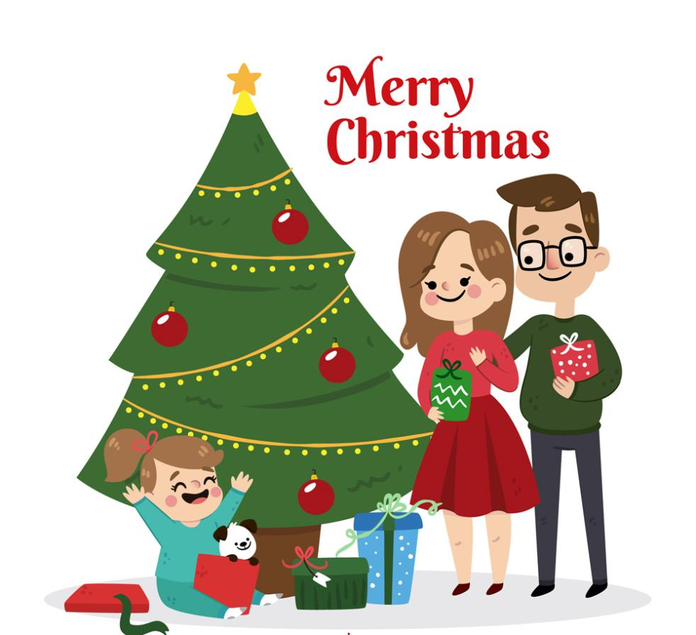 A Family Of Three Cute Christmas Vector