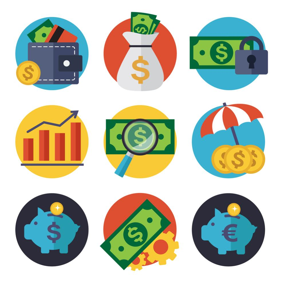 Nine New Creative Financial Elements Icon Vector