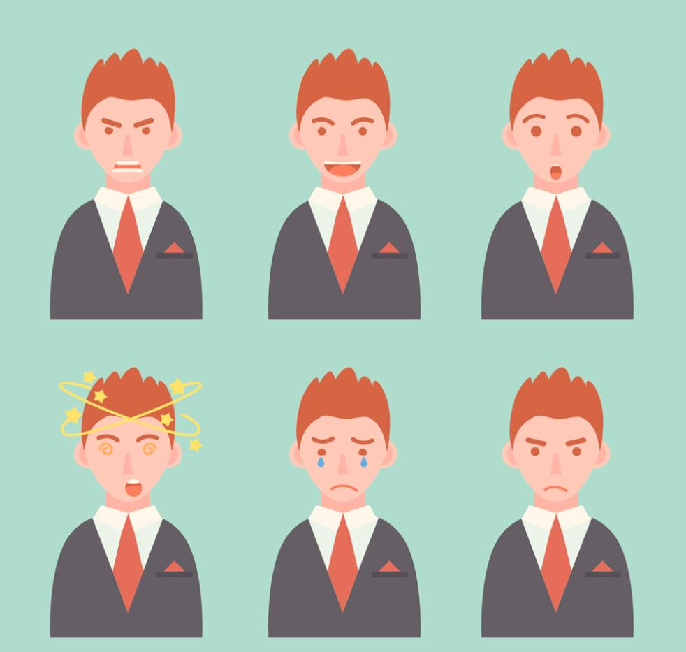 Six Business Man Face Image Vector