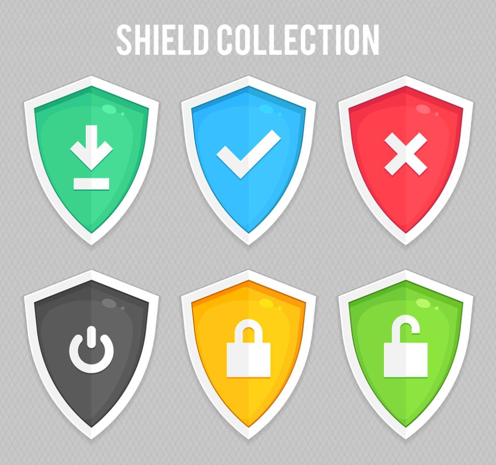Six Color Shield Design Vector