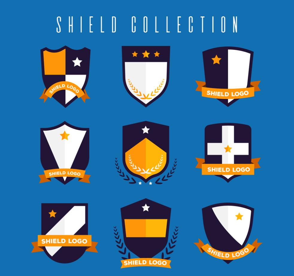 Nine New Flat Shield Design Vector