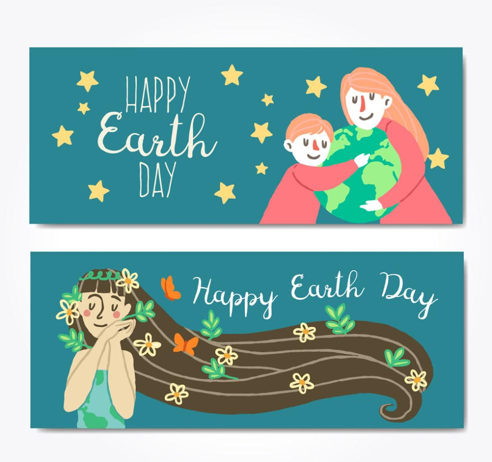 Two Coloured Drawing Or Pattern Character World Earth Day Banner Vector
