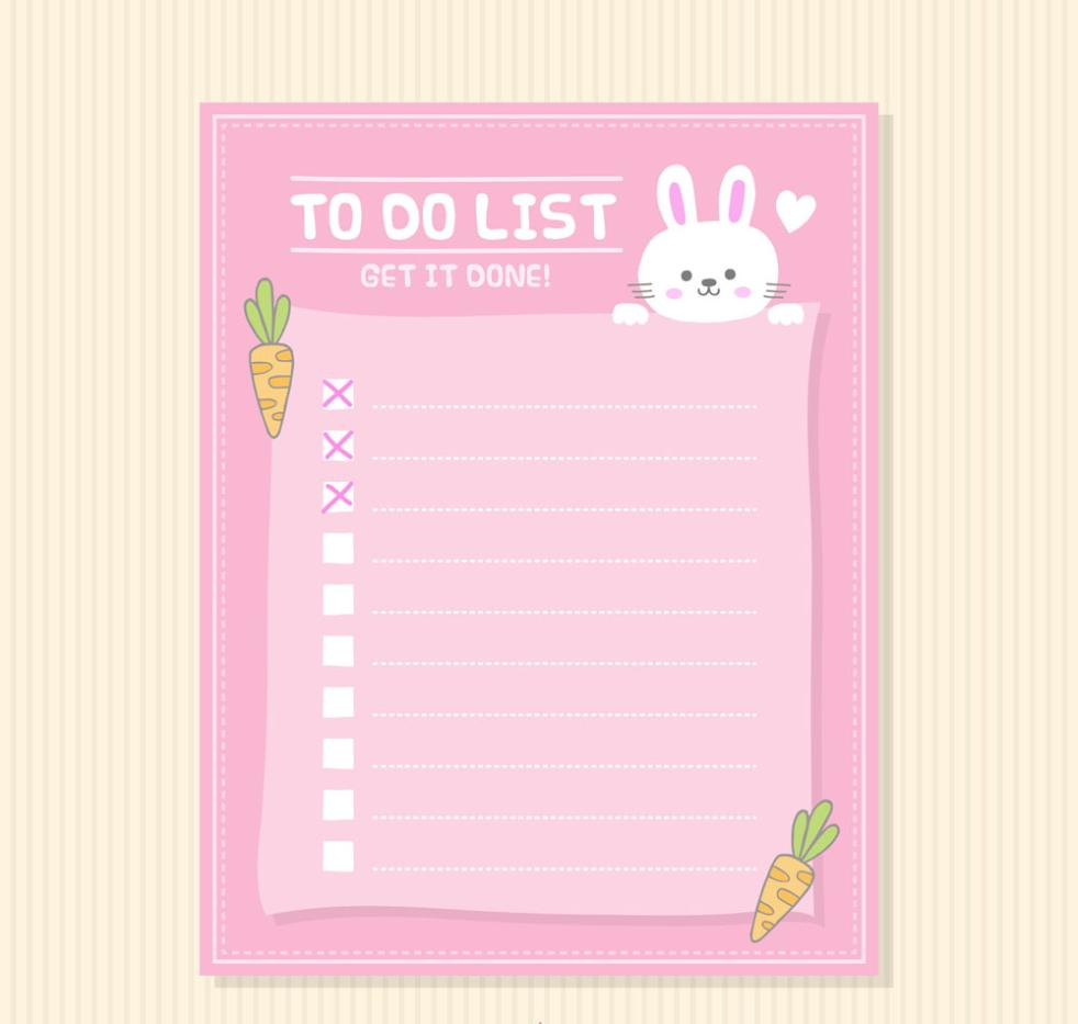 Lovely Rabbit Blank To-do List Vector