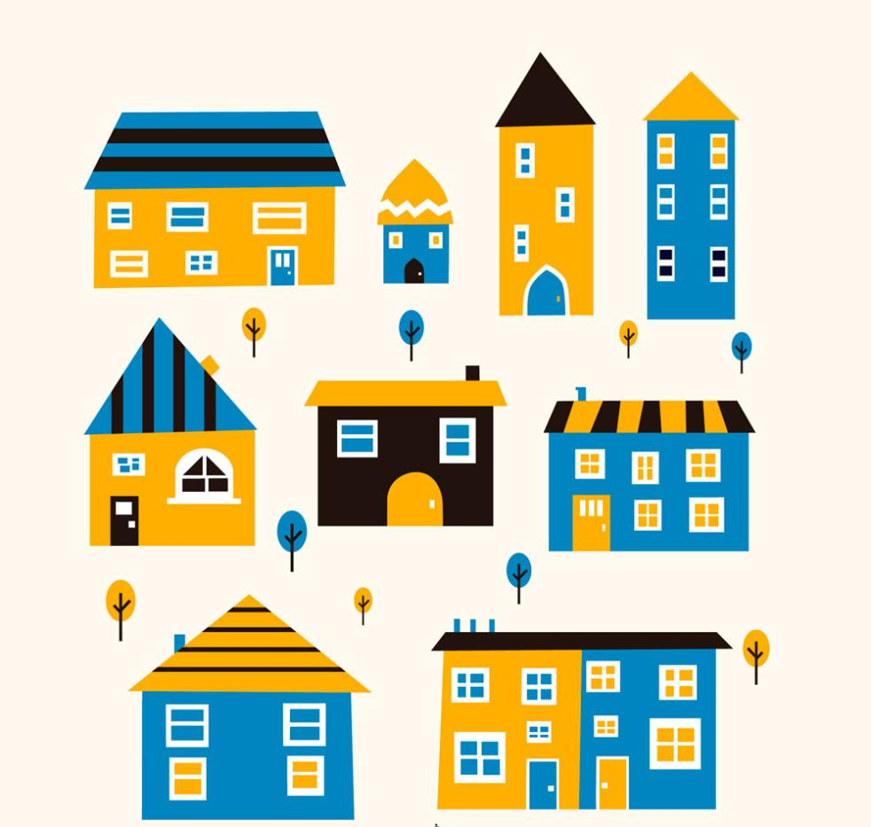 Nine New Creative Color Housing Design Vector