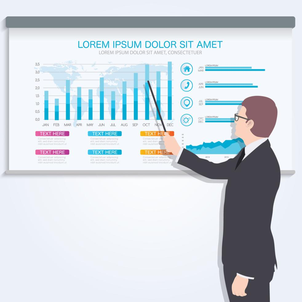 Creative Business Presentation Man And Ppt Chart Vector