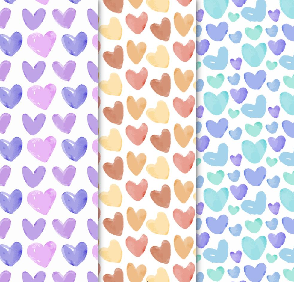 Three Water Love Seamless Background Coloured Drawing Or Pattern Vector