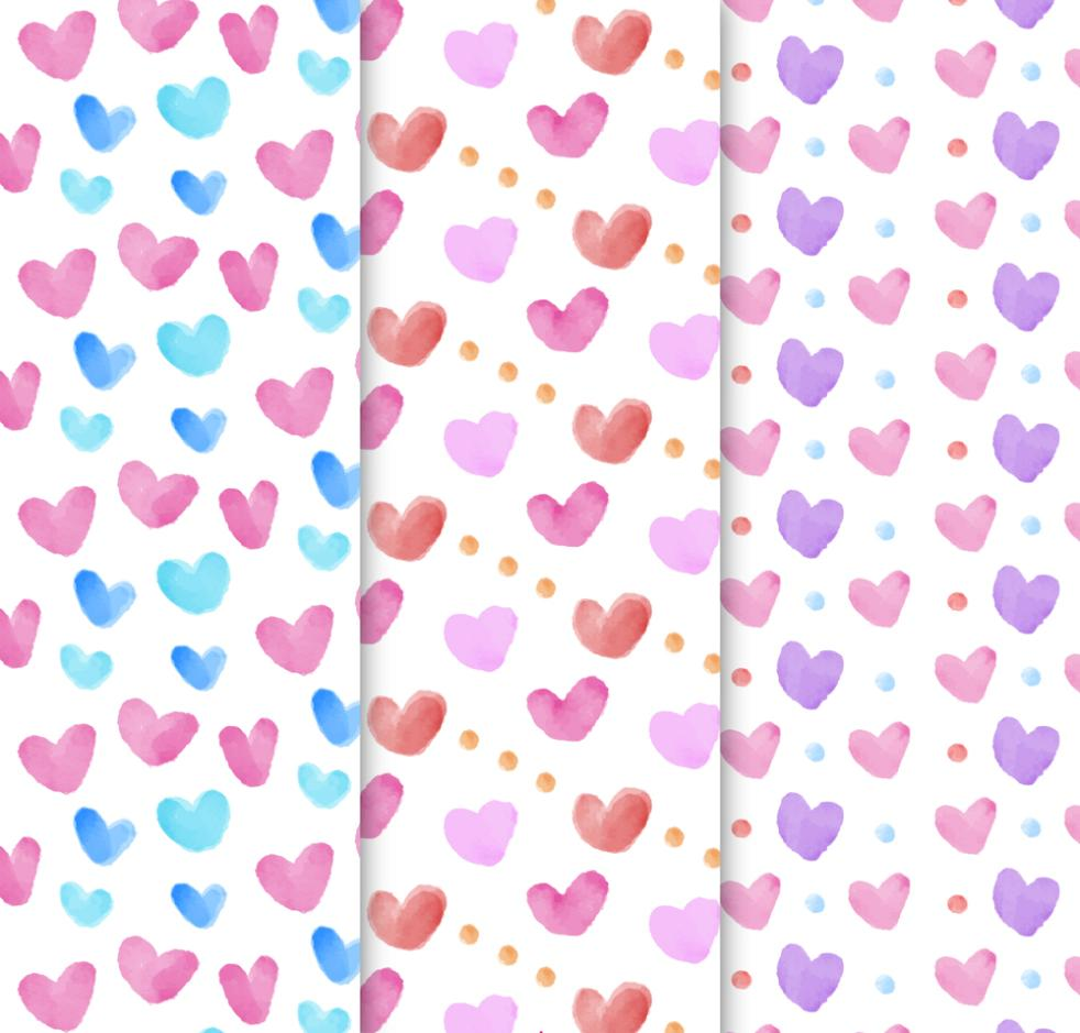 Three Fresh Love Seamless Background Vector