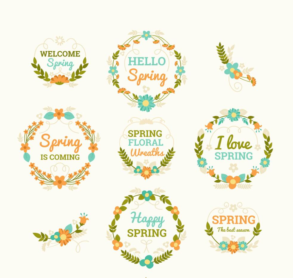 Eight Color Spring Flowers Label Vector