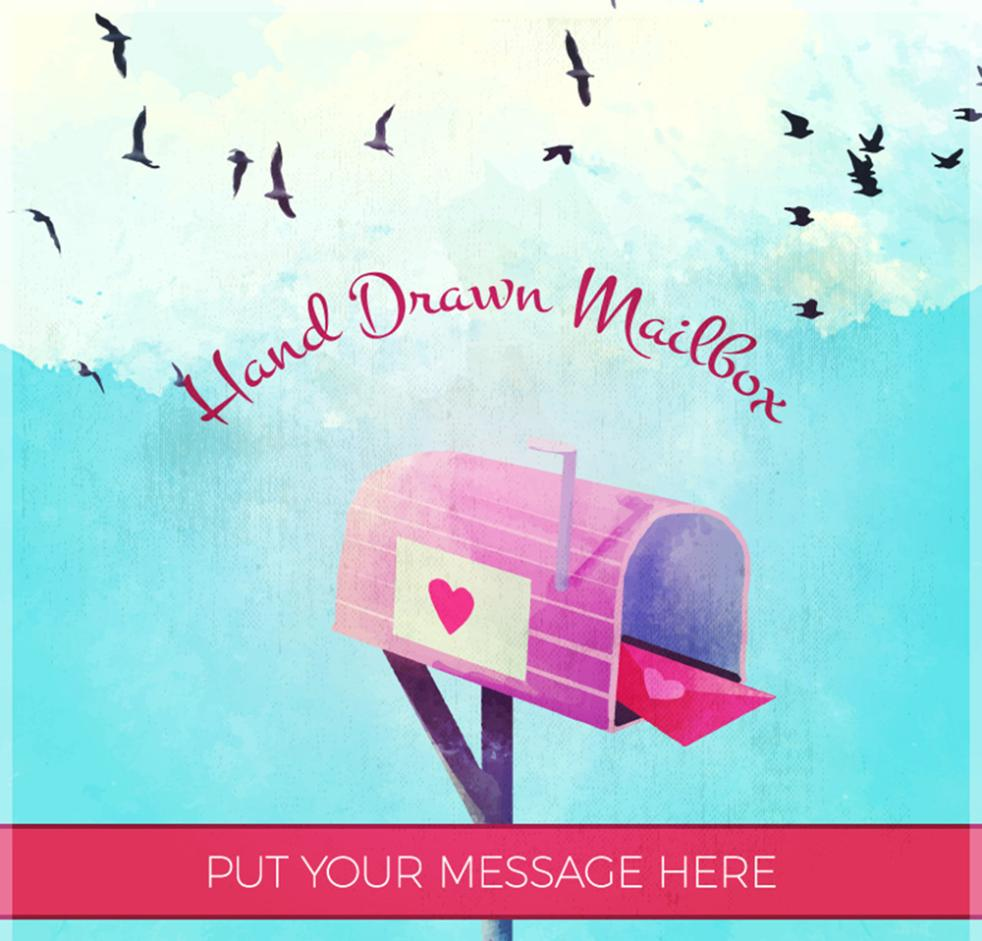 Hand-painted Love Letter Box Vector