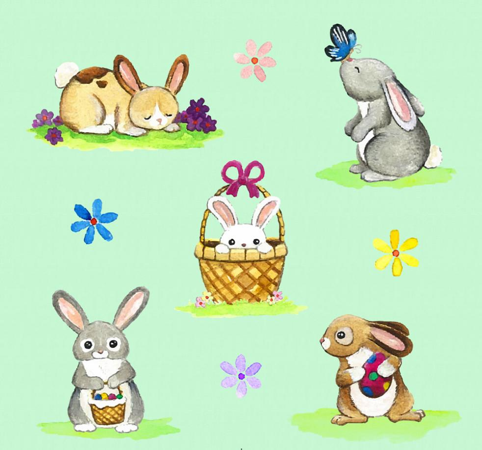 Five Lovely Rabbit Coloured Drawing Or Pattern Vector