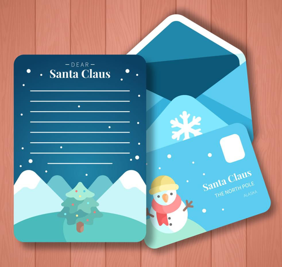 Cute Snowman Stationery Blue Envelope Vector