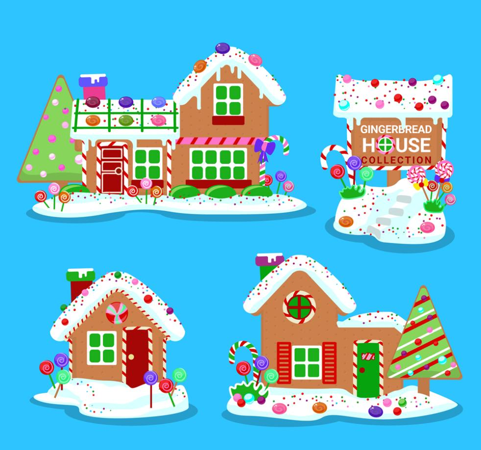 4 Delicious White Roof Gingerbread House Vector