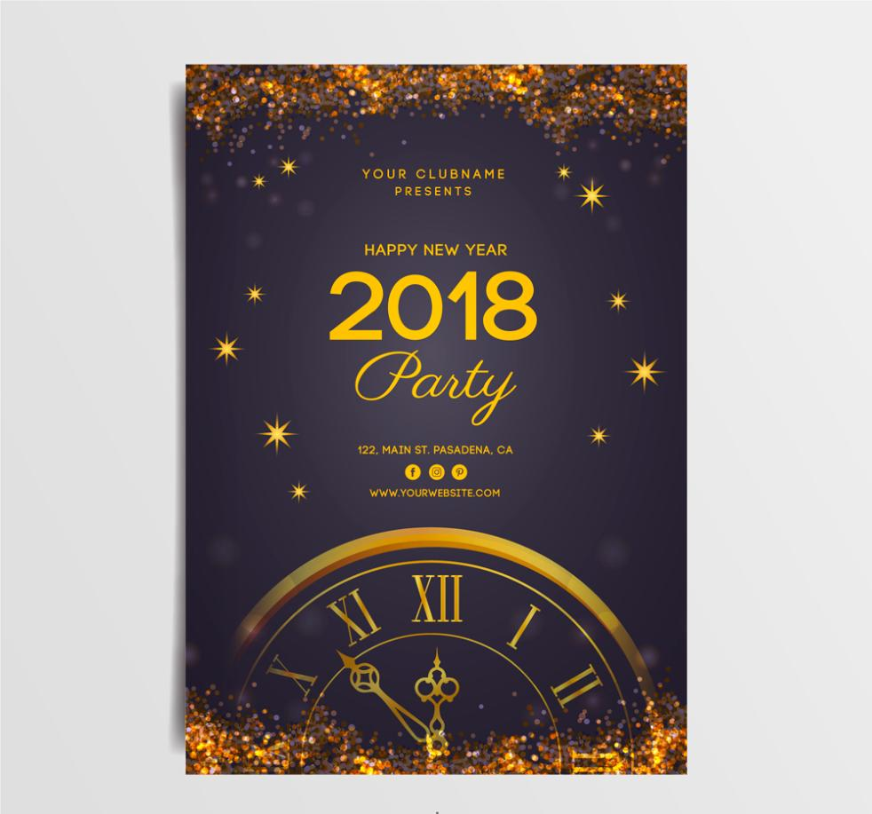 Golden Clock Party Flyer In 2018 Vector