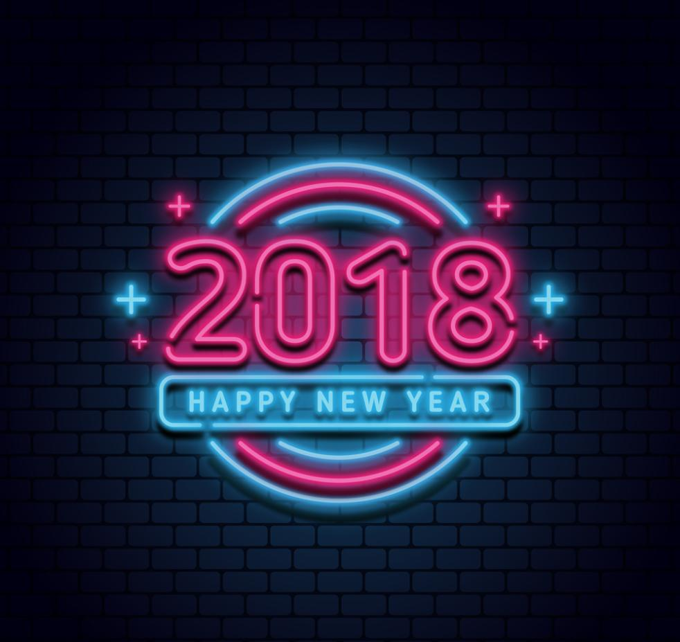 Colorful Neon Lights In The New Year In 2018 Vector