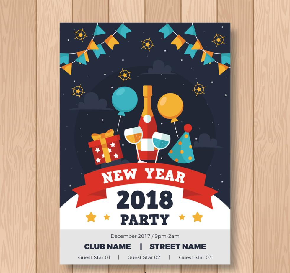 Color In 2018 New Year's Eve Party Flyer Vector
