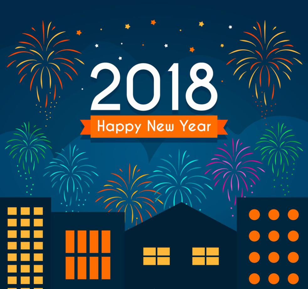 In 2018 Cities And Fireworks Greeting Cards In The New Year Vector