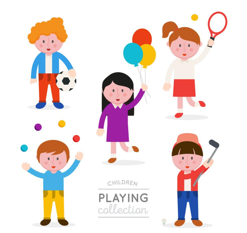 5 Children Creative Play Vector