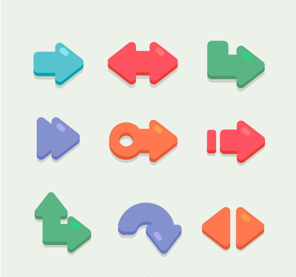 9 Color Arrow Icon Vector