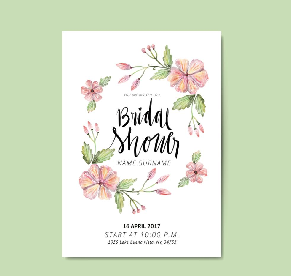Coloured Drawing Or Pattern The Wreath Bridal Shower Invitation Card Vector