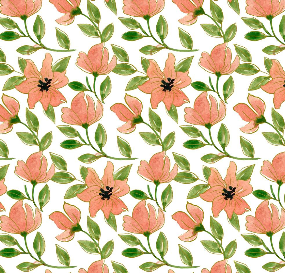 Water Painting Flowers Seamless Background Vector